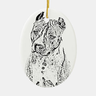 American Staffordshire Terrier Ceramic Oval Ornament