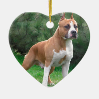 American Staffordshire Terrier Dog Ceramic Heart Ornament