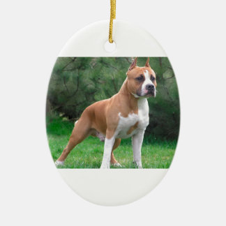 American Staffordshire Terrier Dog Ceramic Oval Ornament