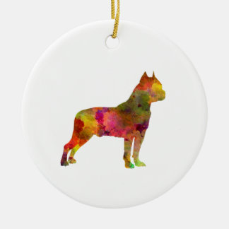American Staffordshire Terrier in watercolor 2 Round Ceramic Ornament