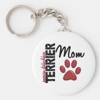 American Staffordshire Terrier Mom 2 Basic Round Button Keychain