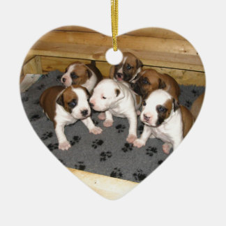 American Staffordshire Terrier Puppies Dog Ceramic Heart Ornament