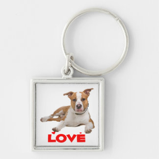 American Staffordshire Terrier  Puppy Dog Silver-Colored Square Keychain