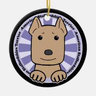 American Staffordshire Terrier Round Ceramic Ornament