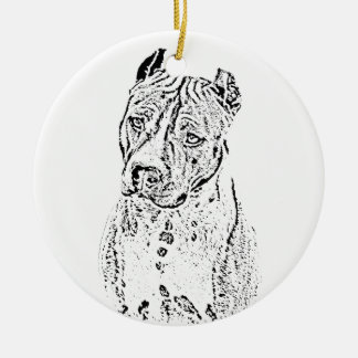 American Staffordshire Terrier Round Ceramic Ornament