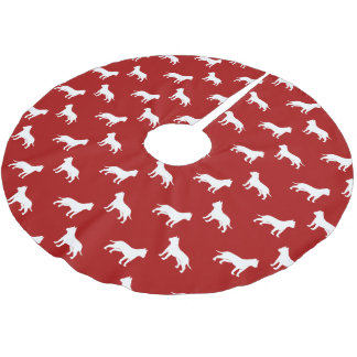 American Staffordshire Terrier Silhouettes Pattern Brushed Polyester Tree Skirt