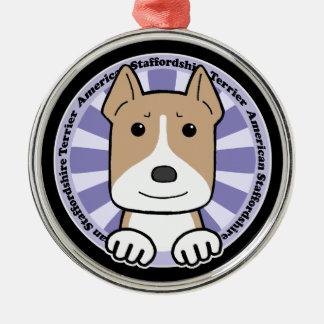 American Staffordshire Terrier Silver-Colored Round Ornament