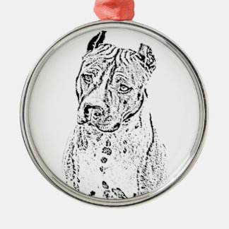 American Staffordshire Terrier Silver-Colored Round Ornament