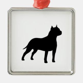 american staffordshire terrier Silver-Colored square ornament