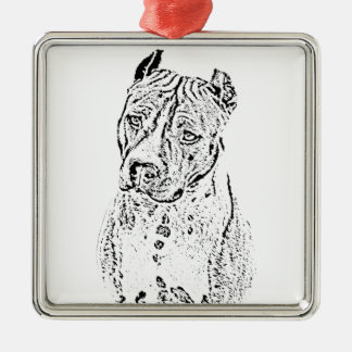 American Staffordshire Terrier Silver-Colored Square Ornament