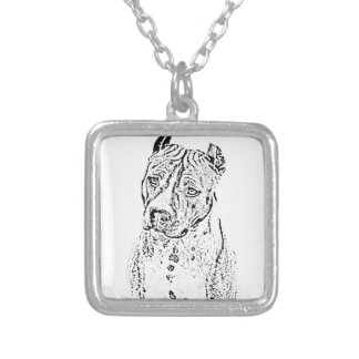 American Staffordshire Terrier Silver Plated Necklace