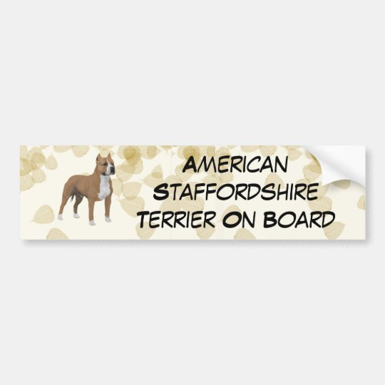 American Staffordshire Terrier ~ Tan Leaves Motiff Bumper Sticker
