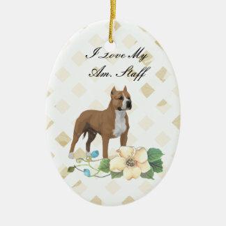 American Staffordshire Terrier ~ Tan Leaves Motiff Ceramic Oval Ornament
