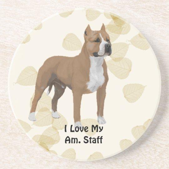 American Staffordshire Terrier ~ Tan Leaves Motiff Coaster