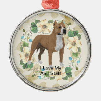 American Staffordshire Terrier ~ Tan Leaves Motiff Silver-Colored Round Ornament