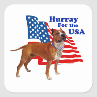American Staffordshire Terrier USA Square Sticker
