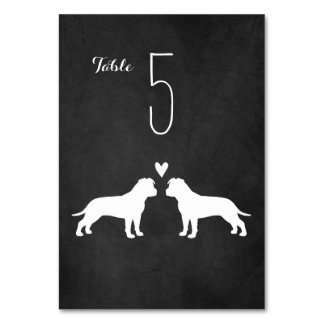 American Staffordshire Terriers Wedding Table Card