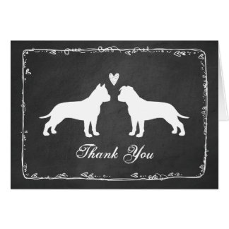 American Staffordshire Terriers Wedding Thank You Card