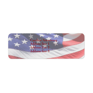 American stars, stripes flag custom address labels