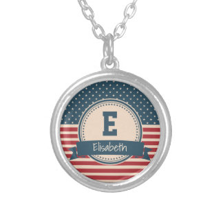 American stars stripes flag monogram name silver plated necklace