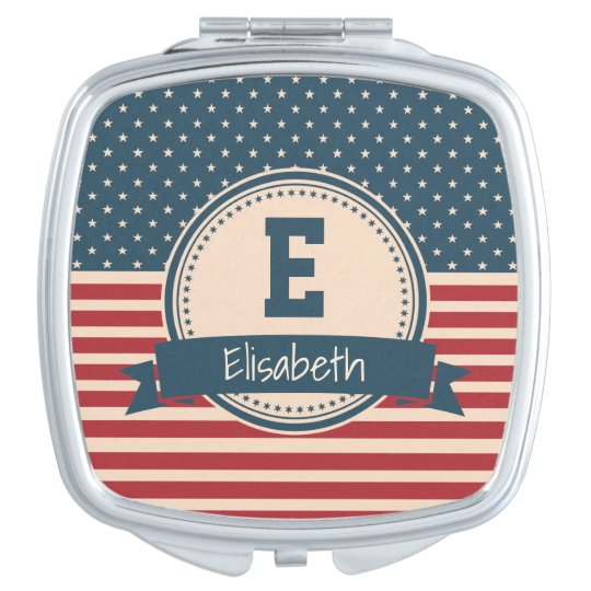 American stars stripes flag monogram name travel mirrors