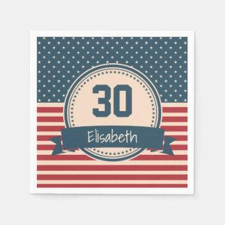 American stars stripes patriotic flag birthday disposable napkin