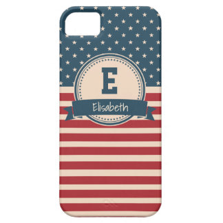 American stars stripes patriotic flag monogram case for the iPhone 5
