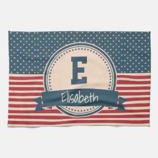 American stars stripes patriotic flag monogram kitchen towel