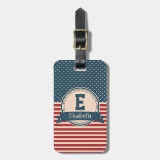 American stars stripes patriotic flag monogram travel bag tag