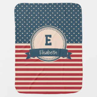 American stars stripes patriotic monogram name baby blanket