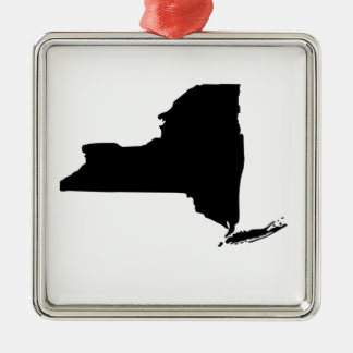 American State of New York Silver-Colored Square Ornament