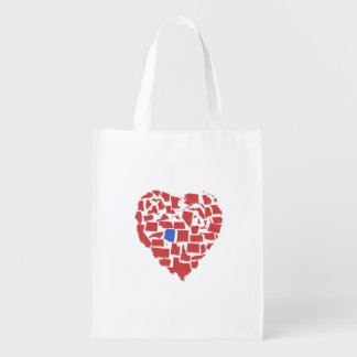 American States Heart Mosaic Arizona Red Reusable Grocery Bag