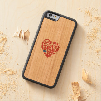 American States Heart Mosaic Montana Red Carved Cherry iPhone 6 Bumper Case