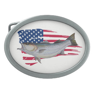 american striped bass fishermen oval belt buckle