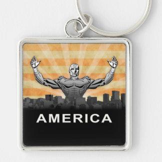 American Super Hero Silver-Colored Square Keychain