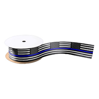 American Thin Blue Line Decor Satin Ribbon