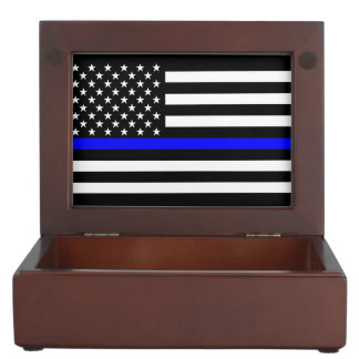 American Thin Blue Line Graphic Keepsake Box