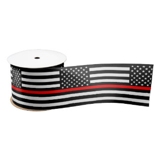 American Thin Red Line Decor Satin Ribbon