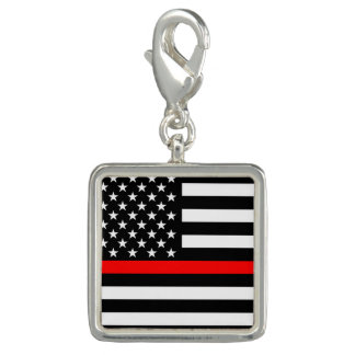 American Thin Red Line Graphic Decor on a Charm