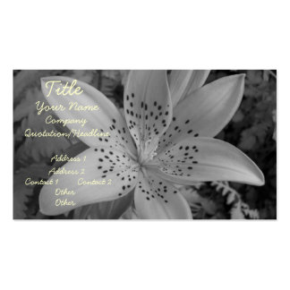 American Tiger Lily (Black & White) Business Card Templates