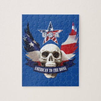 American to the Bone Skull Jigsaw Puzzle