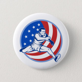 American track and field runner jumping with flag 2 inch round button