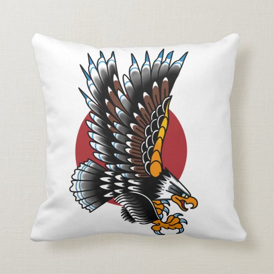 American Traditional Tattoo Eagle Old School Throw Pillow