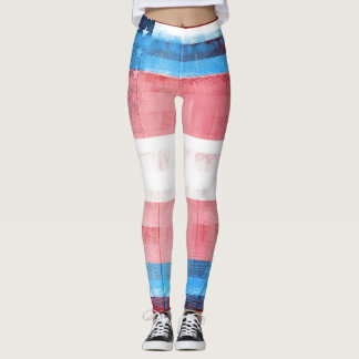 American Trans Pride Flag | Wood & Paintstrokes Leggings