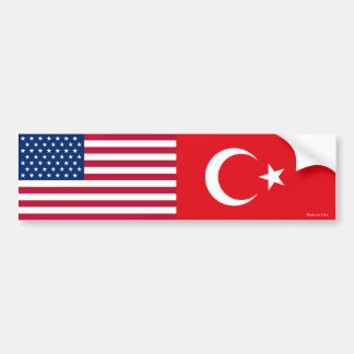 American & Turkish Flag Bumper Sticker