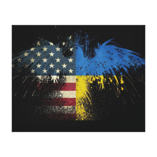 American Ukrainian Flags Canvas Print