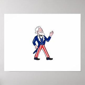 American Uncle Sam Waving Hand Cartoon Poster