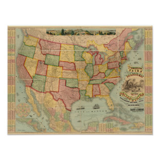 American Union Railroad Map of The United States Poster