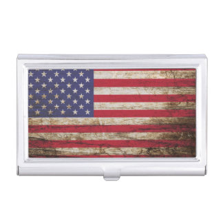 American United States Rustic Flag Case For Business Cards