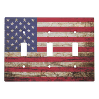 American United States Rustic Flag Light Switch Cover